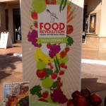 Food Revolution banner & snacks