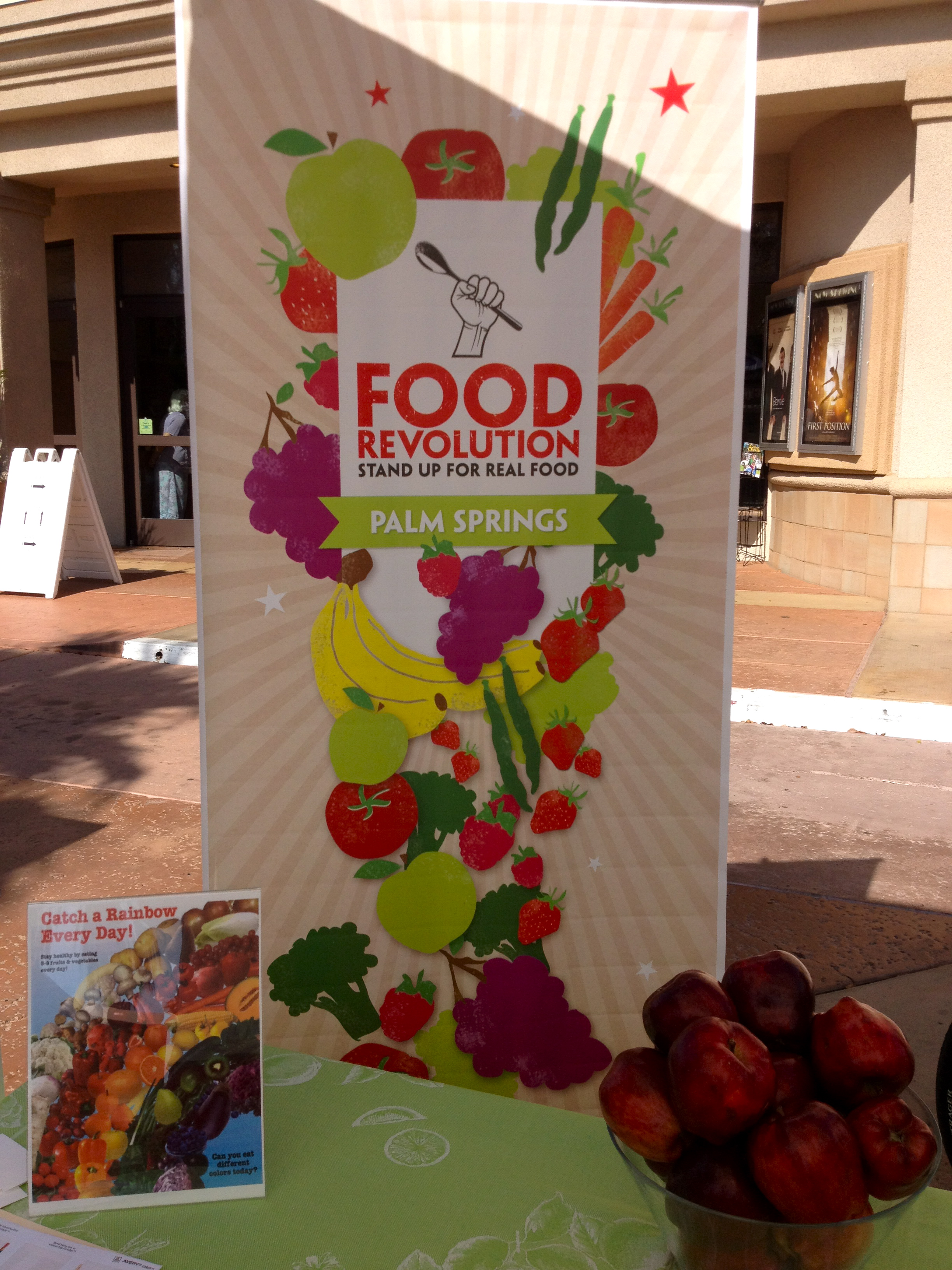 Food Revolution banner & snacks