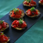 Grilled Eggplant & Garlicky Tomatoes with Micro Basil